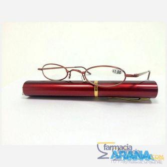 Gafa tubo metal redonda roja