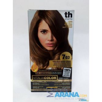 Th Pharma Vitalia color 7.03 Rubio Medio Natural Dorado Sin Amoniaco