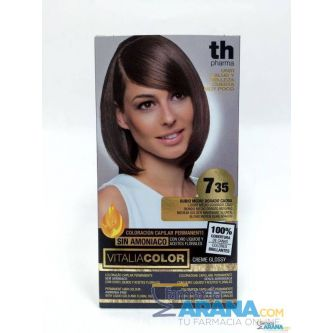 Th Pharma Vitalia color 7.35 Rubio Medio Dorado Caoba Sin Amoniaco
